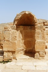 Ancient arched niche in Mamshit excavations in Israel