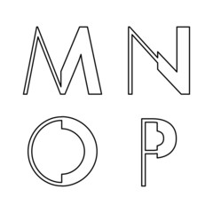 alphabetic font M N O and P