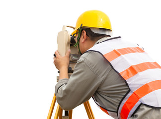 close-up of Surveyor engineer making measure