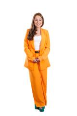 Smiling girl in orange trouser suit