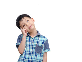 Young Asian boy thinking isolated on white background