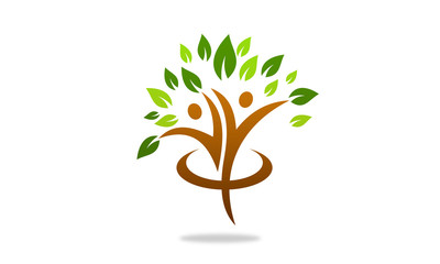 people tree icon with green leaves  eco concept