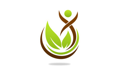 active people on leaf logo