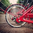 The prospect of red bicycle wheels. Moscow boulevard.