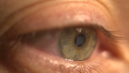 Extreme close-up of eye in front of a computer surfing Internet