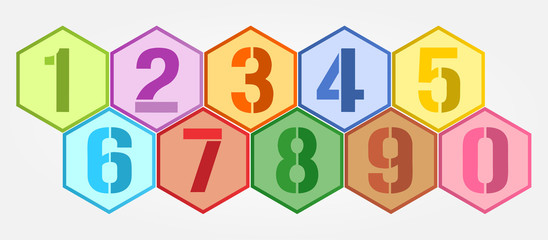 Hexagon colorful numbers set.
