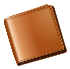 A topview of a brown wallet