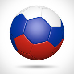 3D soccer ball with Russia flag element and original colors