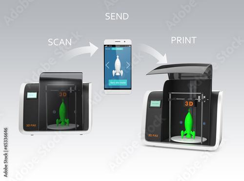 3D fax concept, with text description