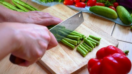 Cutting Vegetables (Long Bean).