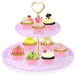 A cupcake stand with cupcakes