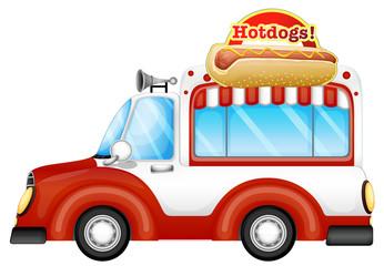 A vehicle selling hotdogs