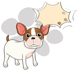 A sad bulldog with an empty callout