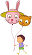 A young boy holding two balloons