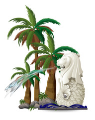 The statue of Merlion near the palm trees