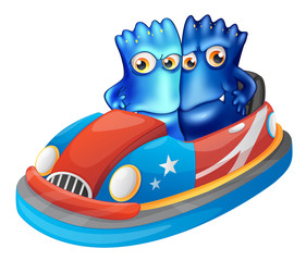 Two blue monsters riding a car