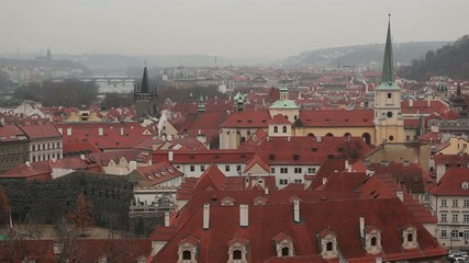 Red tile roofs of Prague