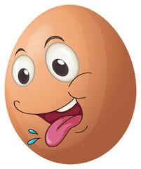 An egg with a playful face