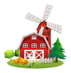 A farm with a red house and a windmill