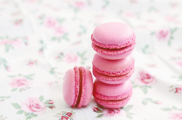 French cherry macaroon dessert