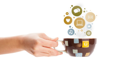 Coffee cup with social and media icons in colorful bubbles © ra2 studio