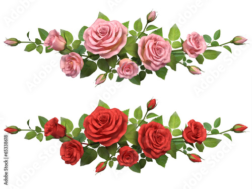 Deurstickers Roses Horisontal border with roses branches.