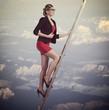 business woman climbing
