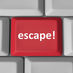 Escape Red Computer Keyboard Key Flee Rescue Correct Error