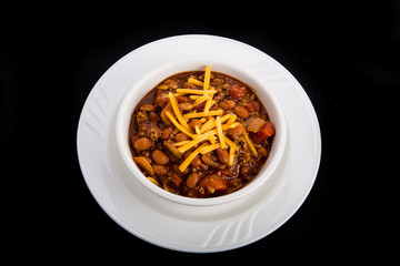 Bowl of Chili with Beef Beans and Cheese
