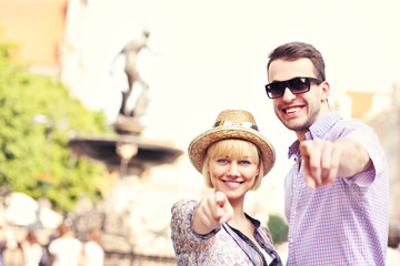 Happy tourists in Gdansk