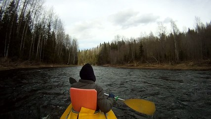 rafting on a kayak
