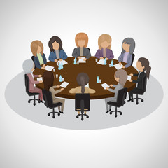 Business People Having Meeting - Isolated On Gray Background