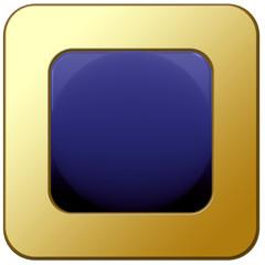 socle bouton web carré vierge, bleu et or