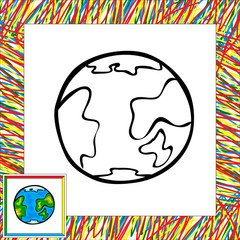 Funny vector earth. Coloring book