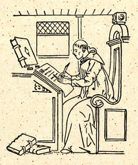 Copying of manuscript by monastic scribe