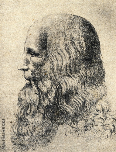 Poster Portrait of Leonardo da Vinci by Melzi