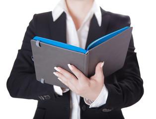 businesswoman a notebook