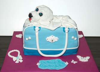 handmade dog cake with a bag in blue marzipan