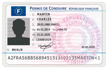 Permis de conduire français. Nouveau modèle.