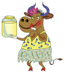 Cheerful cow with a can of milk