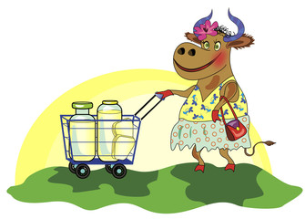 Сheerful cow with shopping cart of milk