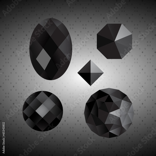 Black crystals. Gemstone. - 65343802