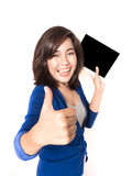 Isolated portrait of beautiful young woman thumb up with digital