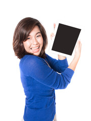 Isolated portrait of beautiful young woman with digital tablet o