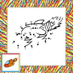 Cartoon vector rocket (second). Dot to dot