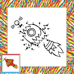 Cartoon vector rocket (first). Dot to dot