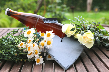 Vatertag - Bierflasche Blumen - Herz