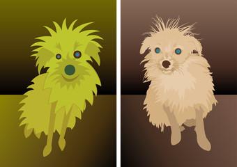 Tiny funny dog caricature cartoon