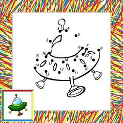 Cartoon vector rocket (fourth). Dot to dot