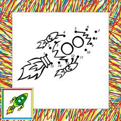 Cartoon vector rocket (third). Dot to dot
